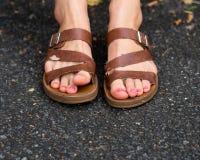 Girl`s feet stock images