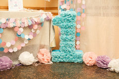 Girl`s first Birthday decorations. royalty free stock photos