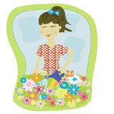 Girl's flowers Royalty Free Stock Image