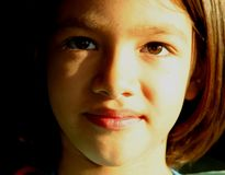 Girl´s Gesicht - junger Horizont Stockfoto