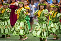Girl's in Green Dress Dancing during Daytime With Leis Royalty Free Stock Photo
