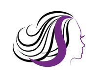 Girl with S in hair icon stock illustration