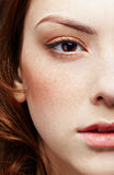 Girl's half-face portrait. Half-face portrait of pale freckled girl stock photography