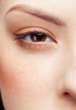 Girl's half-face portrait. Half-face portrait of pale freckled girl royalty free stock image