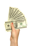 Girl's hand with dollars Stock Photo