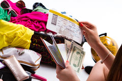 Girl's hand holding a ticket. Stock Photos