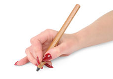 Girl's hand with the pencil. On white background Stock Photography