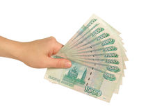 Girl's hand with rubles royalty free stock images
