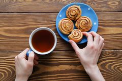 In the girl`s hands and a mug of black tea bitten biscuit. Next to the homemade cinnamon rolls on a blue plate on a wooden table. stock image