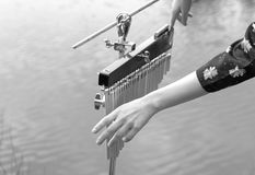 Girl`s hands are playing on xylophone outdoors. Black and white. Royalty Free Stock Photos