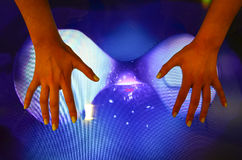 Girl's hands and touch screen Royalty Free Stock Image
