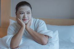 Girl`s happy time of Face Mask pad , beauty skill massage spa of yourself royalty free stock photo
