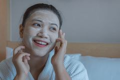 Girl`s happy time of Face Mask pad , beauty skill massage spa of yourself stock photos