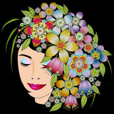 Girls head with flowers Stock Photography