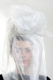 Girl's head in a plastic bag Royalty Free Stock Image