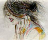 Girl`s head in profile with shaggy hair pencil Royalty Free Stock Images