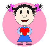 The girl's illustration with heart in hands. Valentine Card, Val Stock Photo
