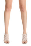 Girl`s legs. Beautiful symmetry legs of the girl isolated on white background royalty free stock images
