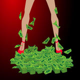 Girl s legs in a pile of dollar concept of finance Royalty Free Stock Image