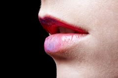 Girl's lips Royalty Free Stock Image