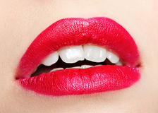 Girl's lips zone make-up Stock Photos