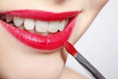 Girl's lips zone makeup Stock Image