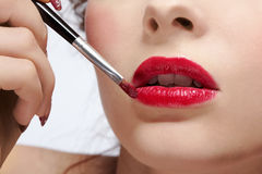 Girl's lips zone makeup Royalty Free Stock Photography