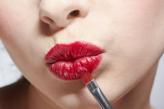Girl's lips zone makeup Royalty Free Stock Images