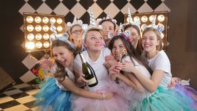 Girl s night out female model having fun with bridesmaid, celebrating hen day. Joyful caucasian female model having fun with bridesmaid, celebrating hen day stock footage