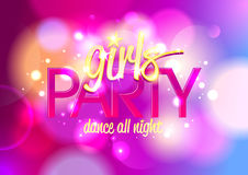 Girl`s party invitation or banner. Girl`s party invitation or banner on a bokeh background. Eps10 stock illustration