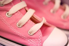 Girl's Pink Canvas Hightops Stock Photo
