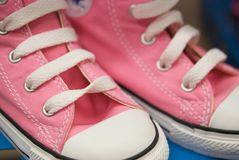 Girl's Pink Canvas Hightops Stock Photography