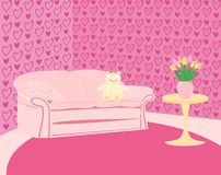 Girl's pink room with pink sofa and teddy-bear Royalty Free Stock Images