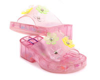 Girl's Plastic Sandals  Royalty Free Stock Photo