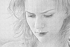Girl's portrait. Beautiful young girl's pencil portrait Stock Image