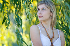Girl's portrait in the leaves Stock Photography