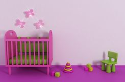 Girl's room. 3d Girl's room in pink color and toy Stock Photography