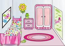Girl's room. With pink color illustration Royalty Free Stock Image