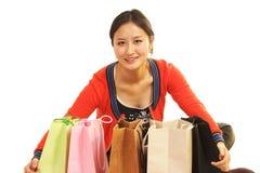 Girl's shopping bag Stock Images