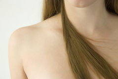 Girl's shoulder and hair Stock Images