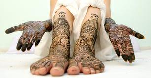 Girl`s Show Mehandi Design in Wedding. Girl`s Show Mehandi Design in Indian Wedding Ceremony Stock Photo