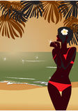 Girl`s silhouette on beach. Girl`s silhouette on sunset tropic beach Royalty Free Stock Images