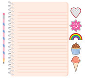 Girl's Spiral Notebook with Pencil and Stickers. A pretty spiral notebook with pencil and stickers for a girl. The stickers include a heart, flower, rainbow Stock Photo