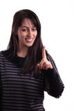 Girl's threatening with index finger Stock Photography