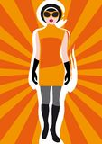 Girl's Vintage Clothing on Sunburst Background 1 Stock Image