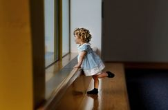 Girl's White and Blue Dress royalty free stock images