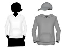 Girl's (white and gray) sweatshirt template. Royalty Free Stock Photography