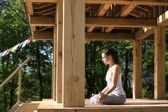 Girl S Yoga Training Royalty Free Stock Photography
