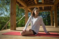 Girl's yoga training Stock Image