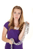 Girl sad chain Royalty Free Stock Photo